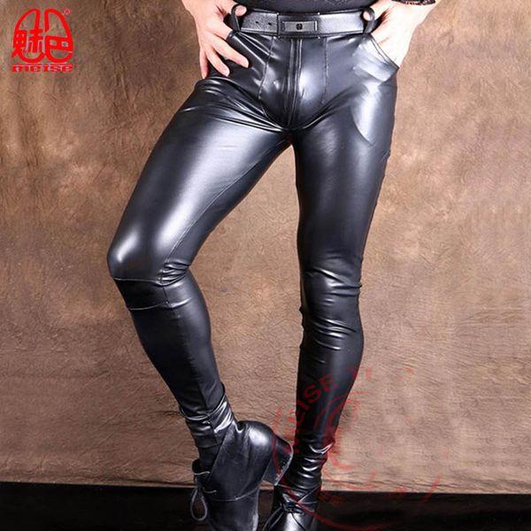 Homens sexy Plus Size Elastic PU Calças Lápis Brilhantes Moda Faux Leather Punk Calças de Palco Boate Calças Apertadas Desgaste Gay Q82