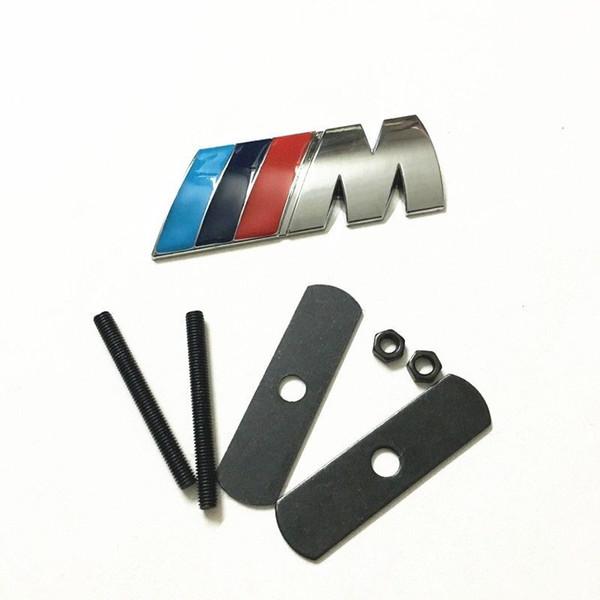 BMW /// M için ön ızgara ızgara amblem M rozet sticker araba metal çıkartma M3 M4 M5