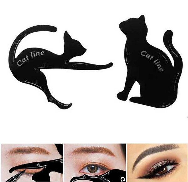 Drop Ship Epack DHL Beauty Eyebrow mold Stencils 2Pcs Women Cat Line Pro Eye Makeup Tool Eyeliner Stencils Template Shaper Model