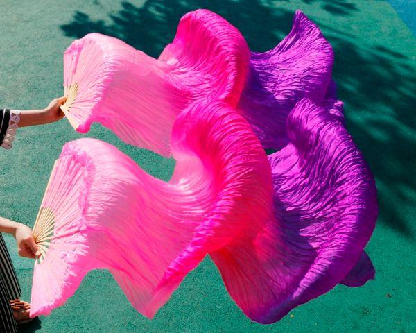 "wholesale 1pc right fans+1 pc left fans 5 size*0.9m(XX""*35"") hand painted belly dance silk fan veil,pink + rose red+ purple"