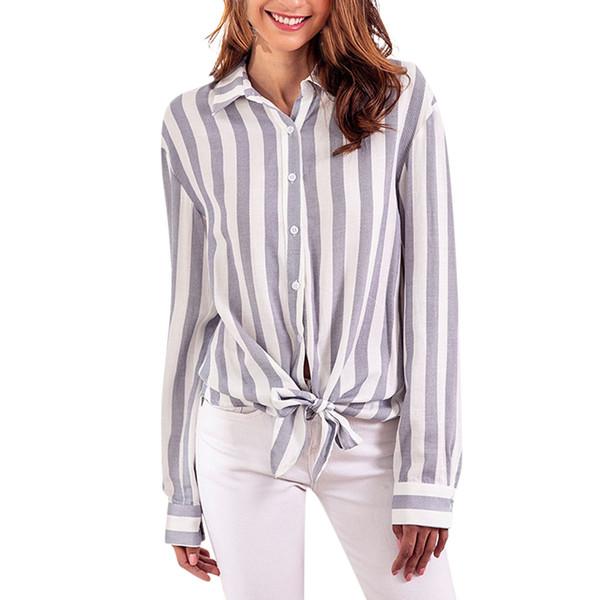 MUQGEW Белый осень женщин Топы и блузки Боути V-образным вырезом женщин Дамы полосатый женский повседневная рубашка длинные Sleevel топы блузка