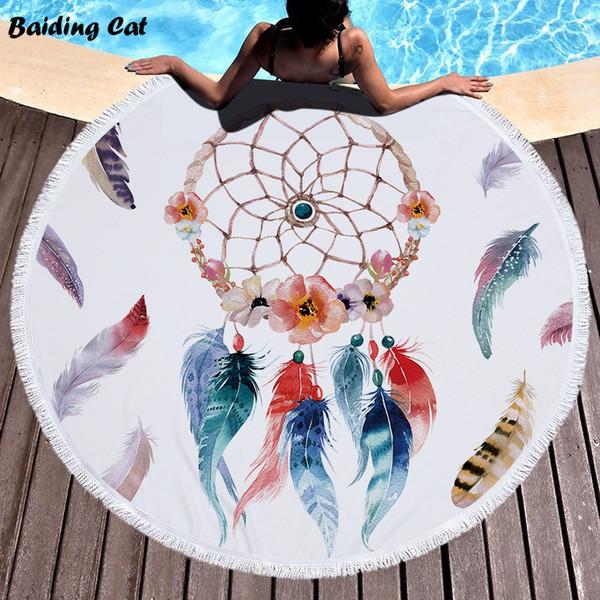 2019 Style Dreamcatcher Microfiber Beach Towel Diameter 150cm Round Beach Bath Towel with Tassels for Adults Serviette De Plage
