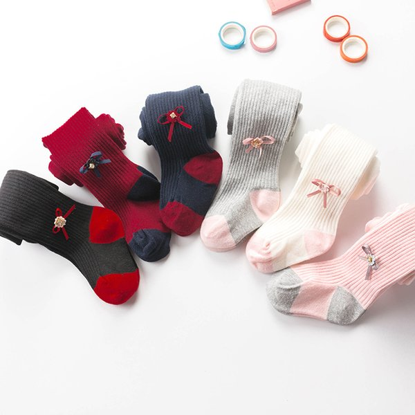 6 colors Girls rhinestone ribbon bow pantyhose Toddlers cotton splicing color leggings for 6m-4T kids princess accessroy tights 3 sizes