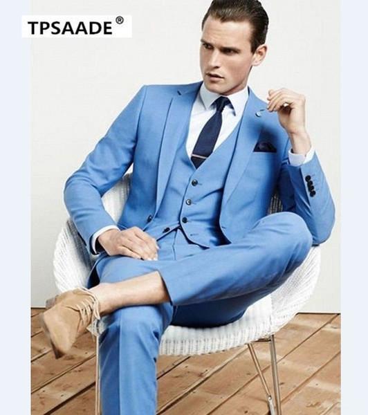Handsome Cool Terno Bespoke Fashion Men Suits Slim Notch Lapel One Button Sky Bule Jacket Pant Vest Navy Bule Tie Handkerchief S18101903
