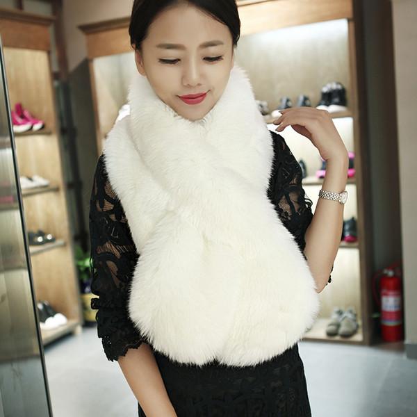 Warm Short Faux Fur Bridal Shawl Fur Wraps Marriage Shrug Coat Bride Winter Wedding Party Boleros Jacket Cloak Black White 120*20 cm
