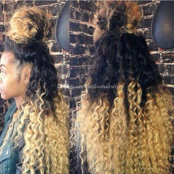 Peruca dianteira do laço sintético Barato Perucas Afro Kinky Curl 1B / 613 # Raiz Preta Ombre Loira Sintética peruca de cabelo crespo crespo para As Mulheres Negras