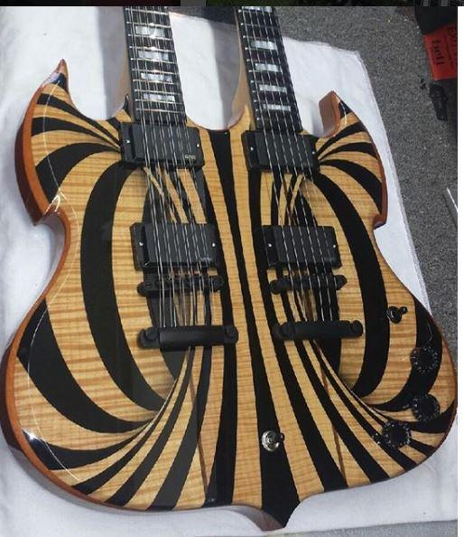 Custom Wylde Audio Barbarian 12 & 6 strings Double Neck Gloss Black Behemoth SG Electric Guitar Copy EMG Pickups, Black Hardware