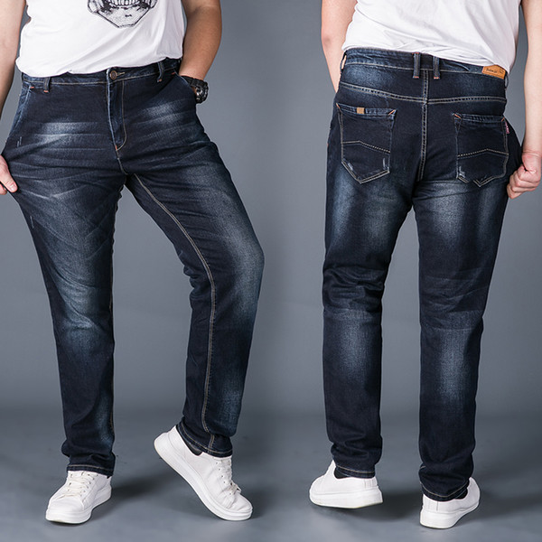 new arrival Autumn winter slim elastic jeans male loose straight long trousers plus size 30 32 33 34 36 38 40 42 44 46 48