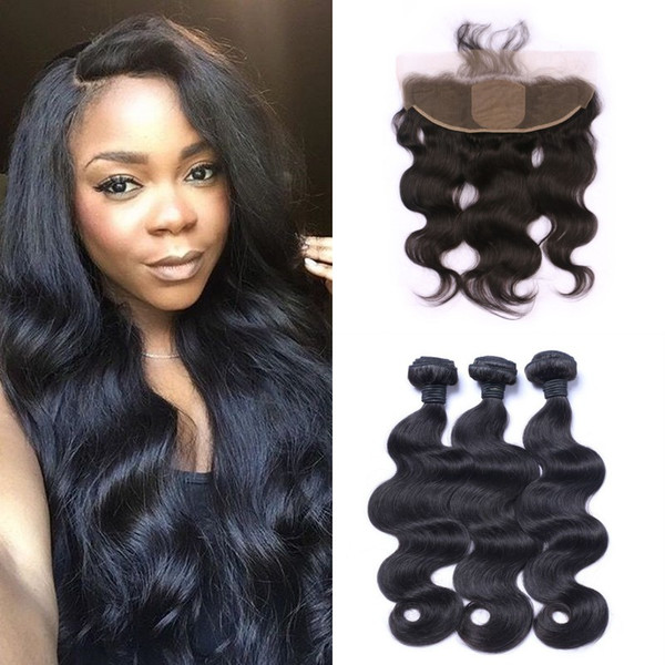 Silk Lace Frontal Closure With 3pcs Hair Bundles Virgin Brazilian Body Wave Human Hair Extensions 8-30inch