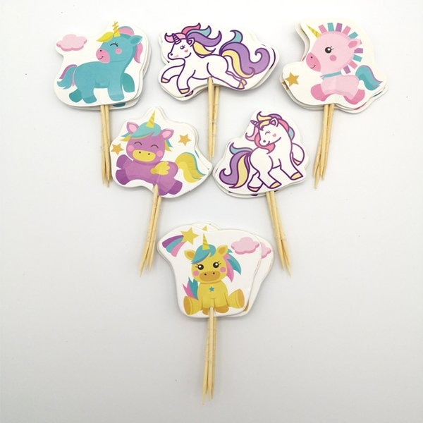 24pc/lot Happy Birthday Party Lile Unicorn Baby Decorate Cake Toppers With Sticks Baby Shower Girls Kids Favors Cupcake Topper
