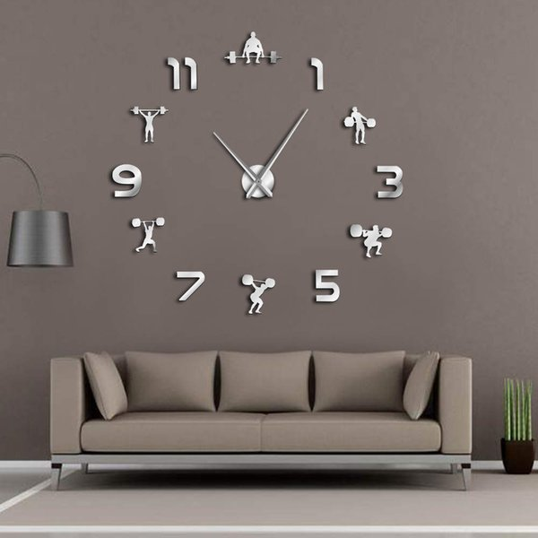 Weightlifting Fitness Room Wall Decor Diy Giant Wall Clock Mirror Effect Powerlifting Frameless Large Clock Gym Watch Home Decor Clocks Home Decor
