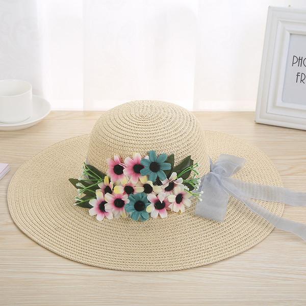 Tejido hecho a mano Sombreros de paja Sombrero de ala ancha Sombreros de verano Mujeres EleLace Bow Flor Sombrero para el sol Señoras Sombrero de playa al aire libre Sombrero de sol floral