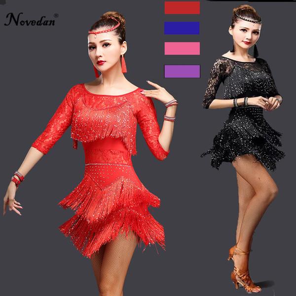 Sexy Red Tango Kleid Salsa Latin Dance Kleid Frauen Spitze Fringe Ballroom Dance Competition Kleider Für Verkauf
