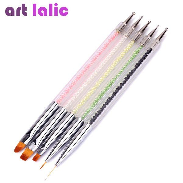 Artlalic 5pcs 2 Way Nail Art Brush Pen Dotting Pearl Acrylic Painting Drawing Line Brushes Liner Pen Manicure Tool