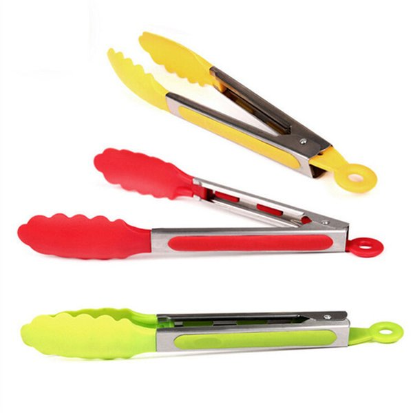 1Pcs Hot Sale Stainless Steel Plastic BBQ Tongs Clip Salad Bread Serving Tongs Kitchen Tools Wholesale Random Color