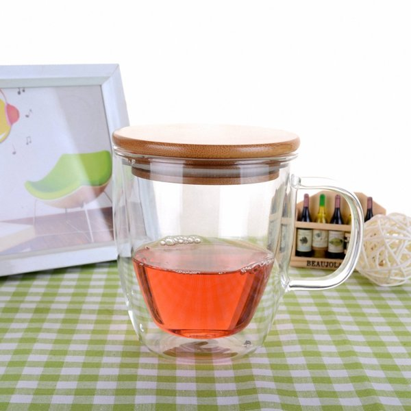 1x 16fl.oz 475ml Heat Resistant Double Wall Glass Tea Coffee Mug Bamboo Lid -LA3 Drop Shipping