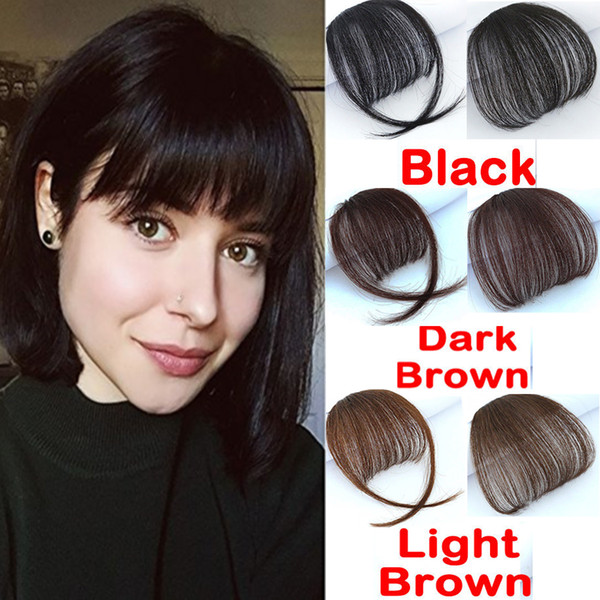 top popular Clip In On Bangs Clip In Front Neat Bangs Fringe 100% Human Hair Extension Hand Tied Hair Bangs For Woman 2019