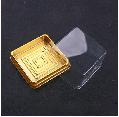 60 шт. = 30 компл. 7.8 * 7.8 * 4 см Золотого Дна 100 Г Держатель Лунного Торта Пластиковая Коробка Торта Свадебные Коробки Пользу Поставок