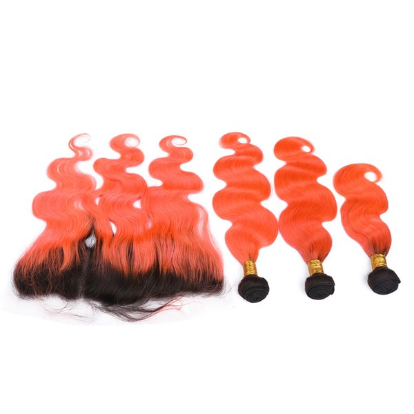 Dark Roots Ombre 1B Orange Hair 3Bundles With Lace Frontal Pieces orange 350 color Ear To Ear Frontal With Virgin Hair Weft Extension