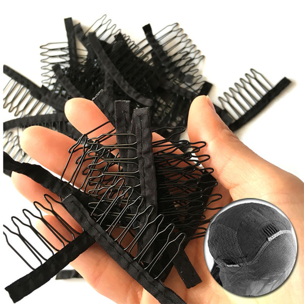 Wig Comb With Durable Polyster Cloth 7 Teeth Wig Accessories Hair Extension Attach Combs 10-100Pcs Wholesale Black Lace Wig Clips Tools