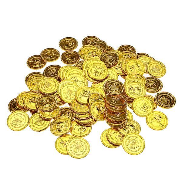 50pcs Plastic Gold Treasure Coins Captain Pirate Party Favors Pretend Treasure Chest Kids Party Supplies Children's toys 5ZHH204