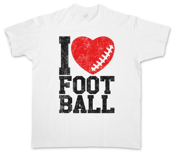 I Love Football II T-Shirt Hearts Heart Love Addicted Addiction Ball Foot 2018 Nueva camiseta de manga corta para hombre