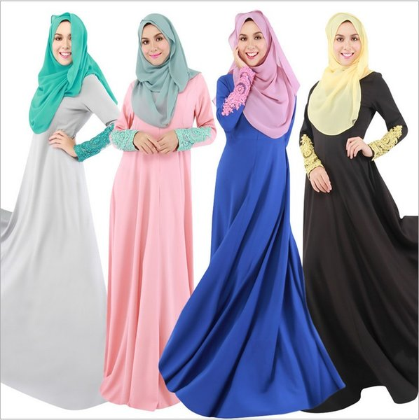 top popular Muslim Womens 4 Colors Abaya Kaftan Dress Long Lace Sleeve O-Neck Floor Length Decorated With Lace Fashion Hijab Jilbab Kaftan dresses DK727 2021