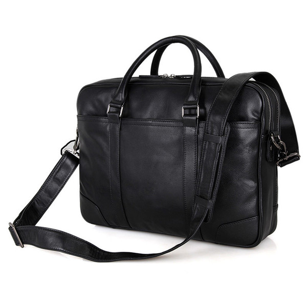 Nesitu Black Real Skin Genuine Leather Office Men Briefcase Male Portfolio 14'' Laptop Business Travel Man Messenger Bags M7348