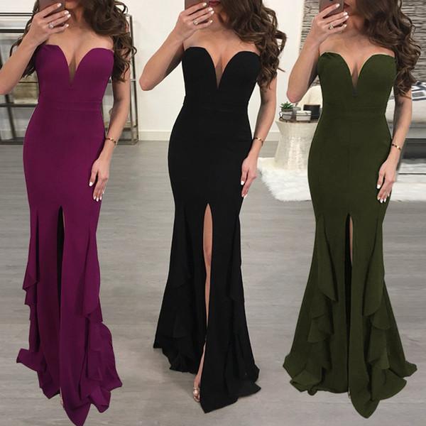 Сексуальная V-образным вырезом топ раффлед сплит платье женские повседневные платья длинное платье Сексуальный ночной клуб женские юбки