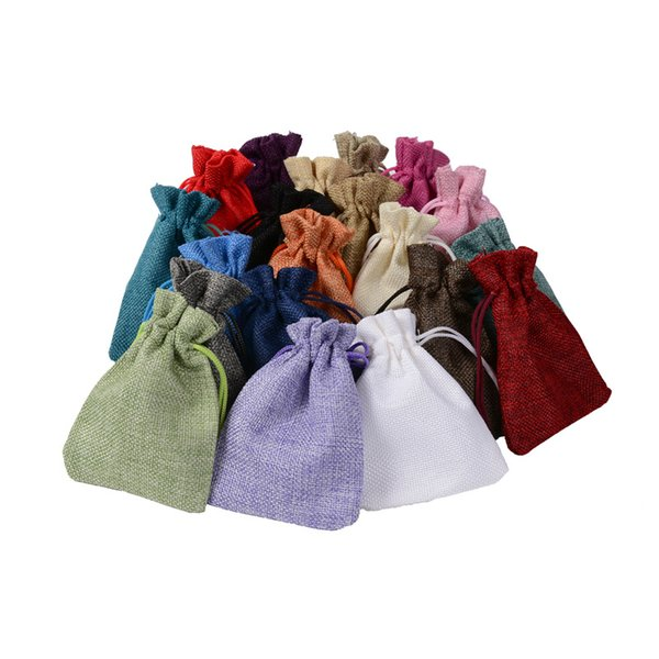 EXQUISITE Multi Colors Pouch 4 sizes Jute Bag Linen Hemp Small Drawstring Bags Ring Necklace Jewelry Pouches Wedding Favors Gift Packaging