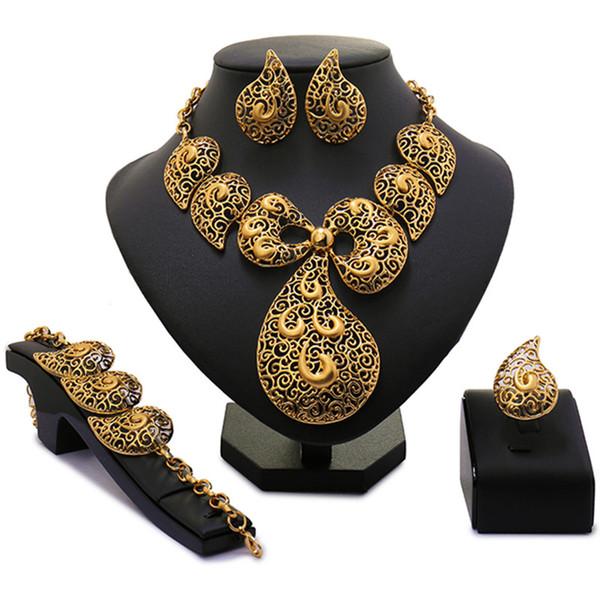 wholesale Exquisite Dubai costume necklace set Luxury Pure gold -color Nigerian Wedding African Beads Jewelry Set Costume Design