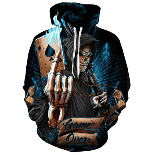 3d skull hoodies men women sweatshirt spades a skull pullover flower sweatshirts outwear for couples s-5xl hoody 8 styles, Black