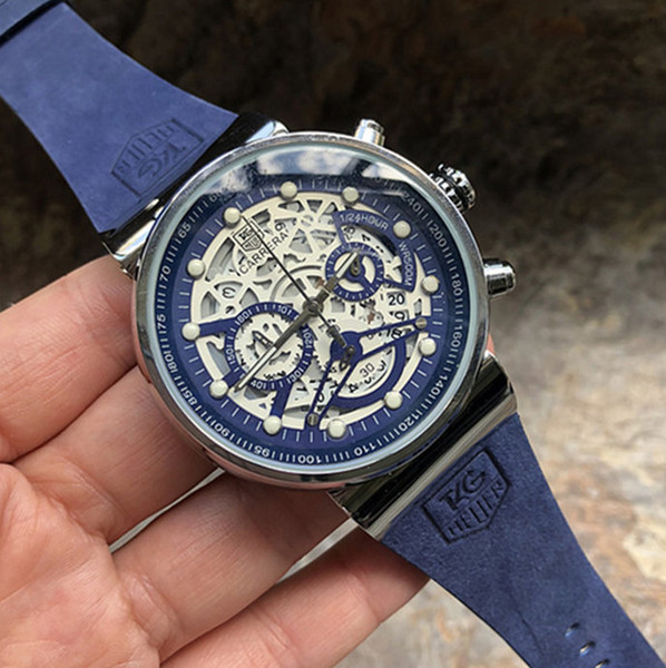 AAA TAG Sport Chronograph Mens Watches Top Brand Luxury Casual blue Leather Quartz Watch Men Military Waterproof Clock Relogio Masculino