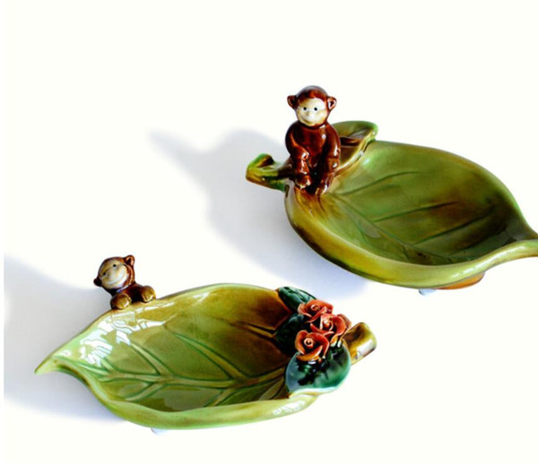 ceramic monkey leaf ashtray home decor crafts room decoration handicraft ornament porcelain figurine Storage dish decoration