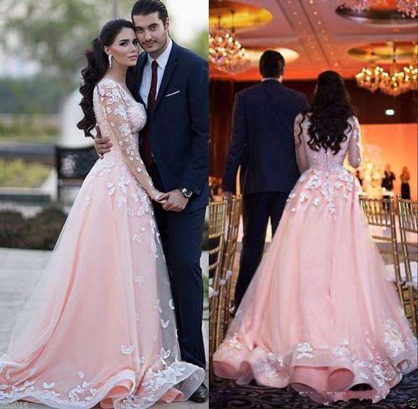 Vestdios De Novia Sheer mangas compridas árabes Prom Dresses Pescoço da colher sobre saias Train Lace apliques rosa Tulle vestidos de noite formal