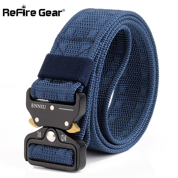 ReFire Gear New Heavy Duty Tactical  Belt Men SWAT Quick Release Combat Army Belt Thick Metal Buckle Webbing Nylon Belts