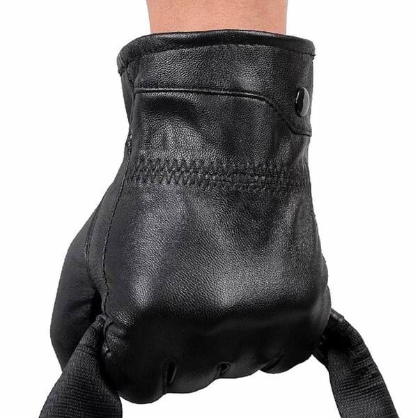 Men's Genuine Leather Gloves Real Sheepskin Black Men Gloves Button Fashion Brand Winter Warm Mittens W006