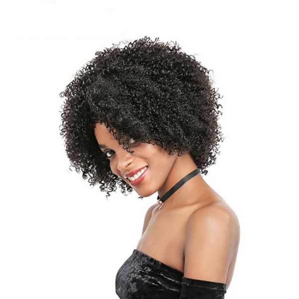 top quality soft brazilian Hair African Ameri short kinky curly Wig Simulation Human Hair curly wig in stock