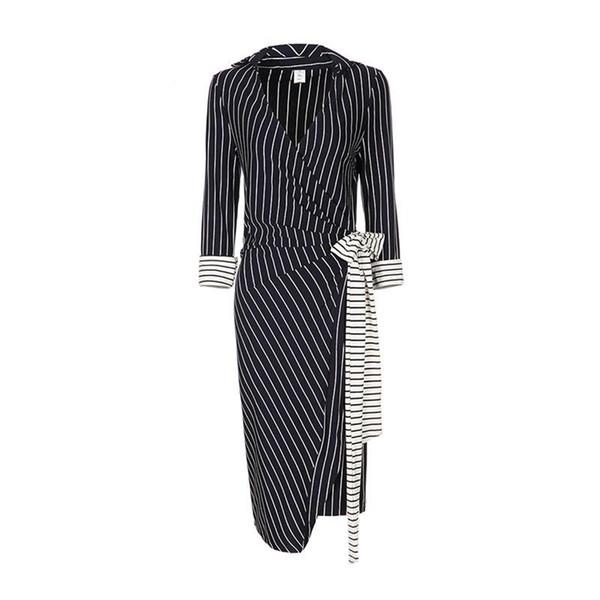 Women Dresses Autumn Winter Sexy Plus Size Dress In Elegant Black V Neck Color Belt Stripe Work Business Casual Party Pencil Dress
