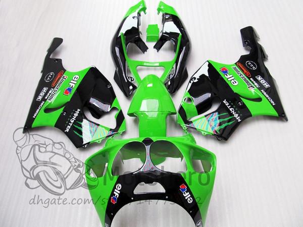 3Gifts fairings For KAWASAKI NINJA ZX7R 1996 1997 1998 1999 2000 2001 2002 2003 green black #P00A66-1 ZX7R 636 96 - 03 fairing kits