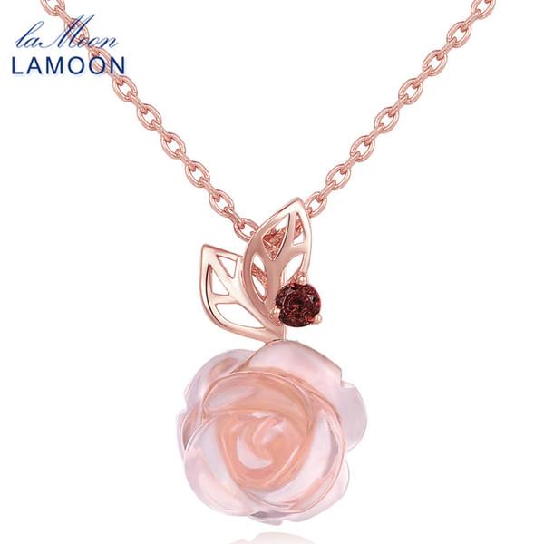 LAMOON Flor de Rosa 925 Collar de Cadena de Plata Esterlina Pendiente Para Mujeres 100% Piedras Preciosas Naturales Cuarzo Rosa Joyería Fina LMNI025 D1892604