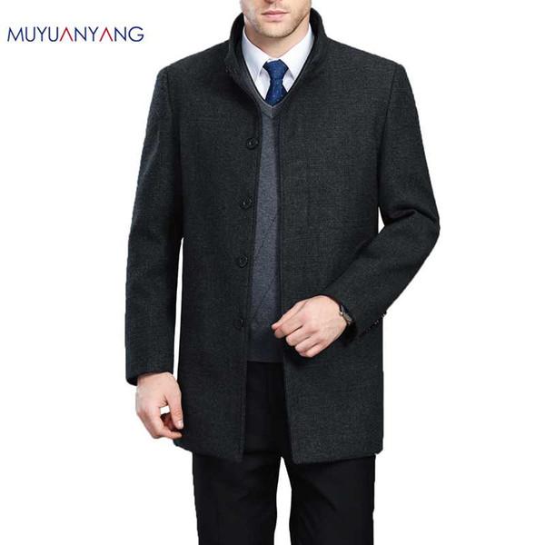 Autumn And Winter Overcoat Men Long Section Mens Wool Coat Casual Stand Collar Men's Woolen Coat Wool & Blends Warm Snow Coats