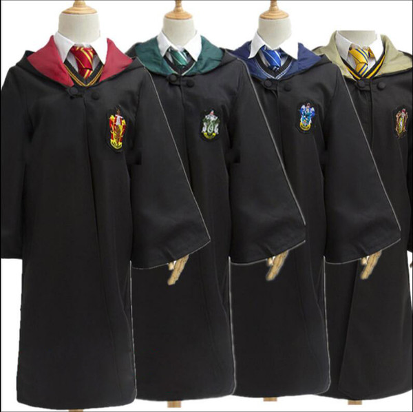 Free Shipping Harry Potter Cosplay Hogwarts Robe Cloak Which a Tie Gryffindor/Slytherin/Hufflepuff/Ravenclaw 4 House 4 Size Can Chose