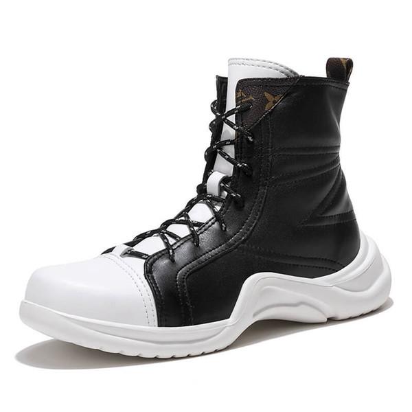 Schuhe Herren Stiefel 2019 Schwarz Weiß Schnee Lace Stiefeletten Warm Stiefel Winter Plüsch Großhandel 2019 Fashion Herren Herren Herren Schuhe Up OPkiXZTu