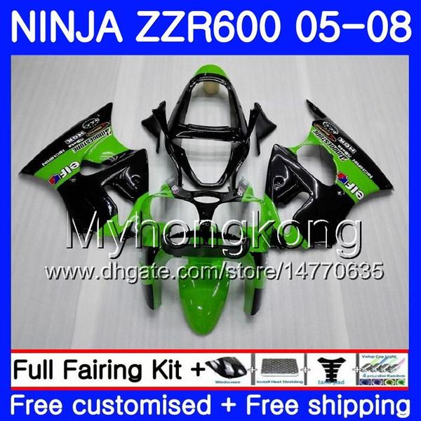 Karosserie für KAWASAKI NINJA 600CC ZZR600 05 06 07 08 grün 219HM.18 ZX600 CC ZZR-600 im Angebot schwarz ZZR 600 2005 2006 2007 2008 Verkleidungskit