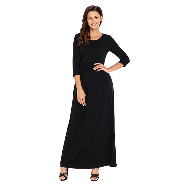 Avrupa ve Amerikan istasyonu moda basit tasarım yuvarlak boyun 7-çeyrek kollu cep yüksek bel pilili elbise 61646