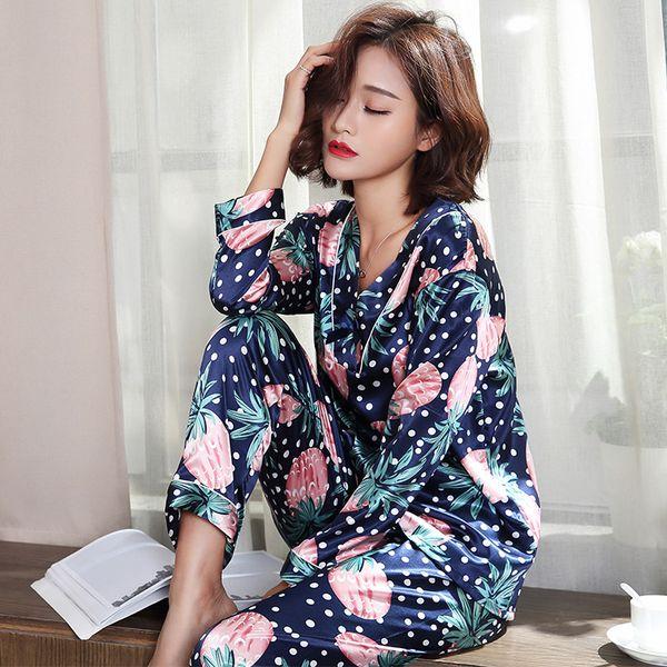 Silk Satin Pijamas V-neck Women Pajama Sets Pineapple Print Sleepwear Long  Sleeve Cute Lounge Set Leisure Homewear Pyjamas Femme 0dee0795a