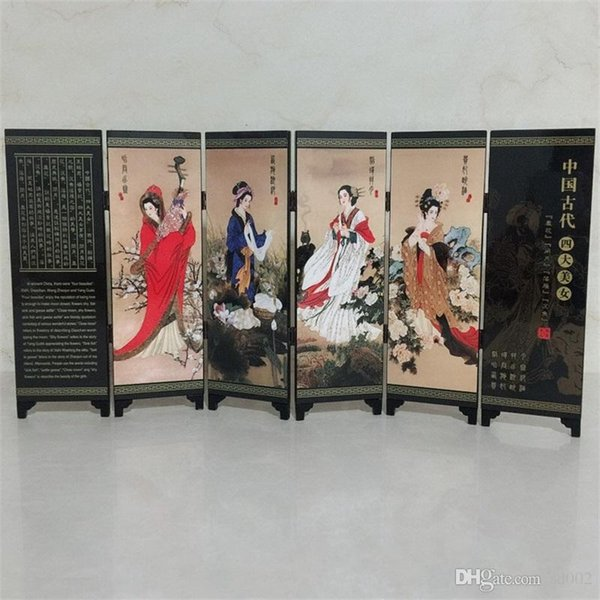 Oriental Chinese Golden Lacquer Folding Rooms Screen Divider Four Great Beauties Women Birthday Gifts Screens Room Dividers 24 9jl gg