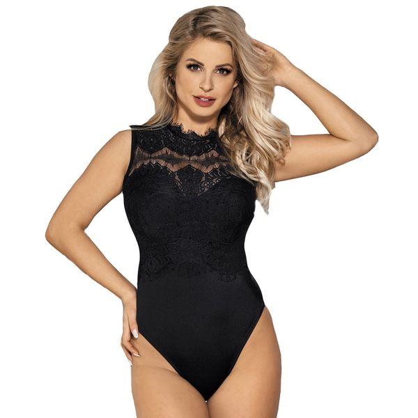 Alta Neck Lace Sexy Teddy Lingerie Oco Out Voltar Plus Size Sexy Bodysuit Mulheres Lingerie Erótica Virilha Aberta Teddy S927