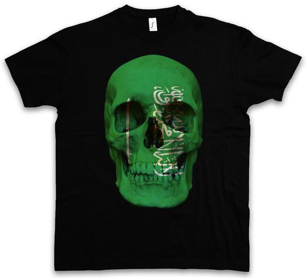 Klasik Suudi Arabistan Kafatası Bayrağı T-shirt-Totenkopf Afiş Fahne Arabien Serin Rahat Gurur T Gömlek Erkekler Unisex Yeni Moda